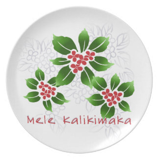 Hawaiian Holly Mele Kalikimaka Christmas Red Melamine Plate