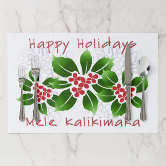 Hawaiian Holly Mele Kalikimaka Christmas Red Paper Placemat