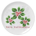 Hawaiian Holly Mele Kalikimaka Christmas Red Plate