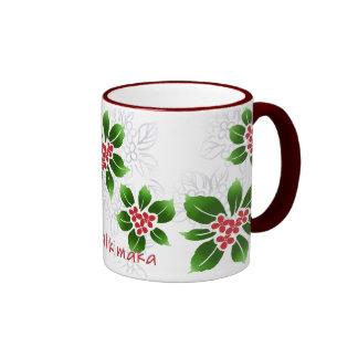 Hawaiian Holly Mele Kalikimaka Christmas Red Ringer Mug