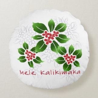 Hawaiian Holly Mele Kalikimaka Christmas Red Round Pillow