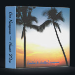 """Hawaiian Honeymoon photo album Binder<br><div class=""""desc"""">Hawaiian honeymoon or wedding Hawaii  - a pretty island sunset  photo album for couples to save their memories.  Insert the type of 3 ring photo pages you desire and make your own personalized wedding album.</div>"""