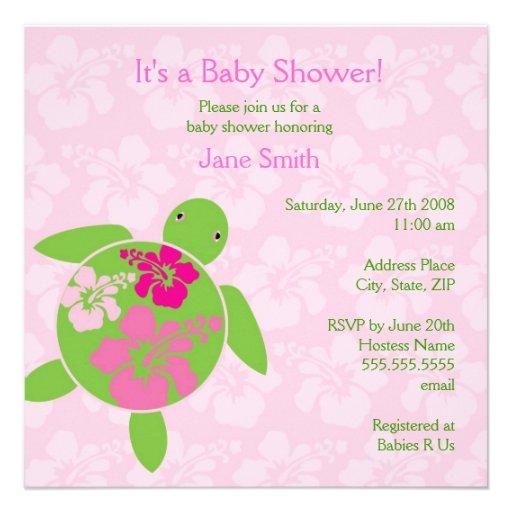 Hawaiian Honu Baby Shower Invitation - Pink