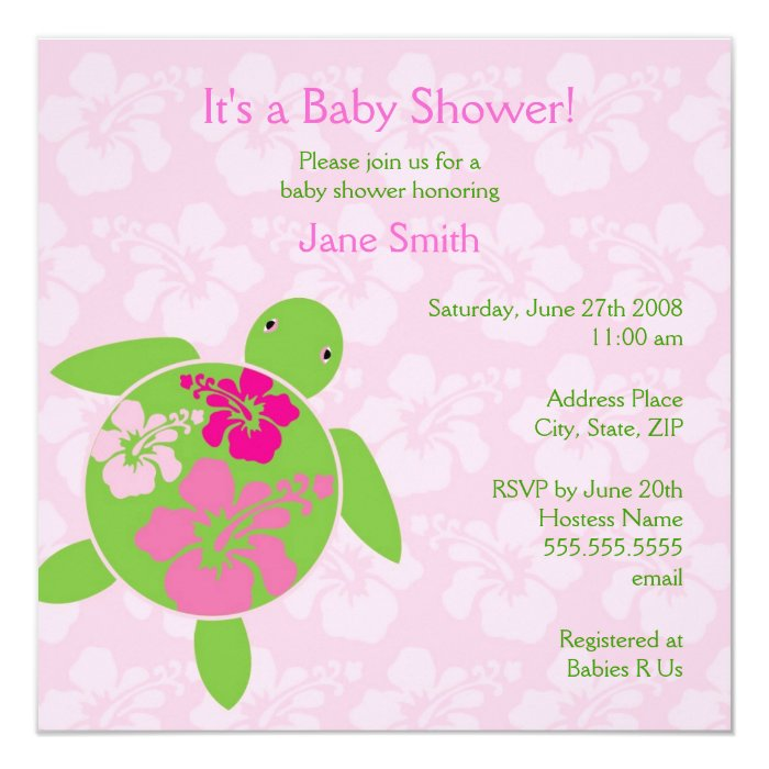 hawaiian honu baby shower invitation pink zazzle