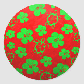 Hawaiian Honu de los colores del navidad Pegatina Redonda