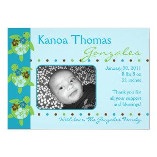 Hawaiian Honu Personalized Boy Birth Announcement
