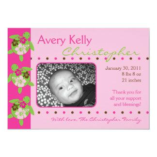 "Hawaiian Honu Personalized Girl Birth Announcement 5"" X 7"" Invitation Card"