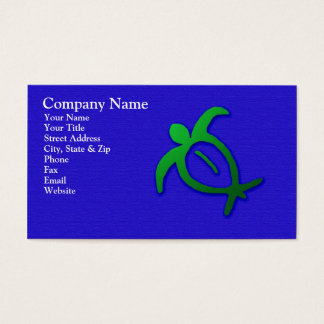 Hawaiian Honu Petroglyph on Blue Business Card