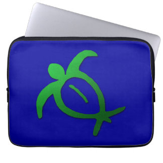 Hawaiian Honu Petroglyph on Blue Laptop Sleeve