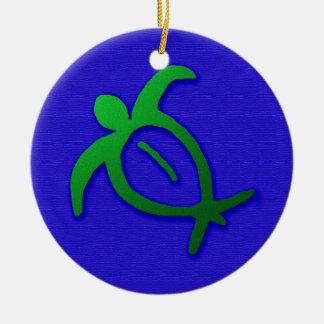 Hawaiian Honu Petroglyph on Blue Christmas Ornament