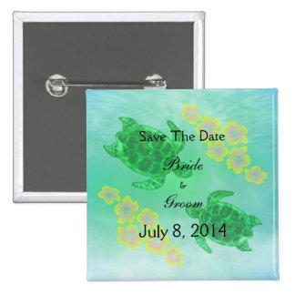 Hawaiian Honu Save The Date Pinback Button