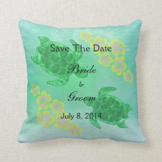 Hawaiian Honu Save The Date Throw Pillow