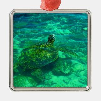 Hawaiian Honu Sea Turtle Metal Ornament