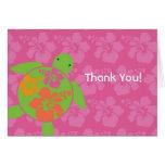 Hawaiian Honu Thank You Card - Hot Pink