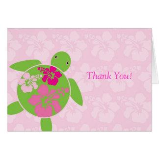 Hawaiian Honu Thank You Card - Pink