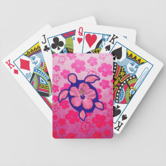 Hawaiian Honu Turtle and Hibiscus Bicycle Playing Cards