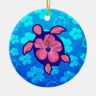 Hawaiian Honu Turtle and Hibiscus Ceramic Ornament