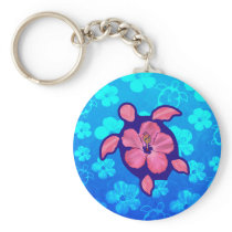 Hawaiian Honu Turtle and Hibiscus Keychain