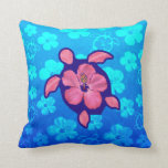 Hawaiian Honu Turtle and Hibiscus Pillow