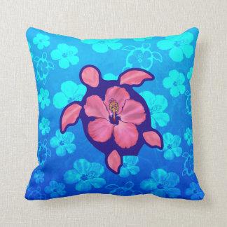 Hawaiian Honu Turtle and Hibiscus Pillow