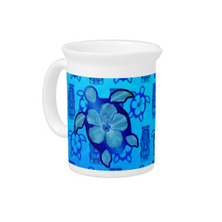 Hawaiian Honu Turtle and Hibiscus Beverage Pitchers