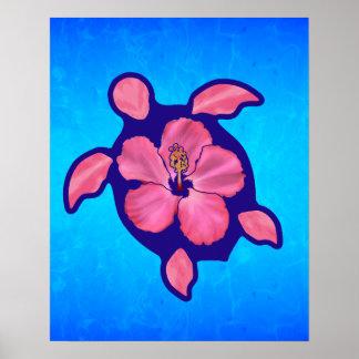 Hawaiian Honu Turtle and Hibiscus Poster