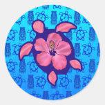 Hawaiian Honu Turtle and Hibiscus Stickers
