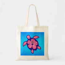 Hawaiian Honu Turtle and Hibiscus Tote Bag