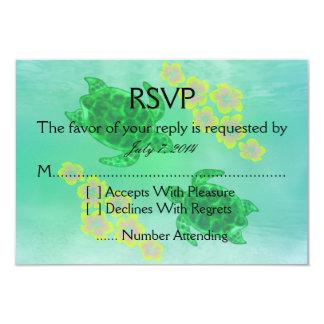 Hawaiian Honu Wedding 3.5x5 Paper Invitation Card