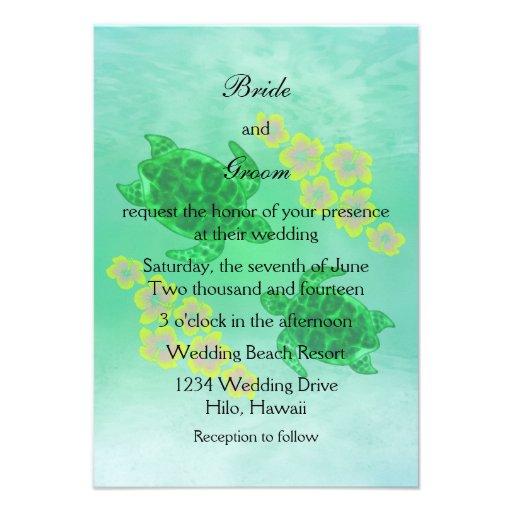 Hawaiian Honu Wedding Personalized Invitation