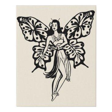 Hawaiian Themed Hawaiian Hula girl Butterfly Fairy Faux Canvas Print