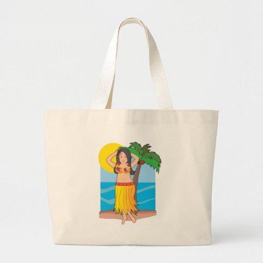 hawaiian hula girl canvas bag