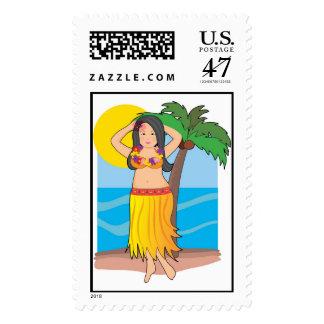 hawaiian hula girl postage