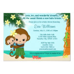 Hawaiian Hula Monkey Baby Shower invitation BOY