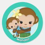 """Hawaiian Hula Monkey Baby Shower """"Mahalo"""" BOY Classic Round Sticker"""