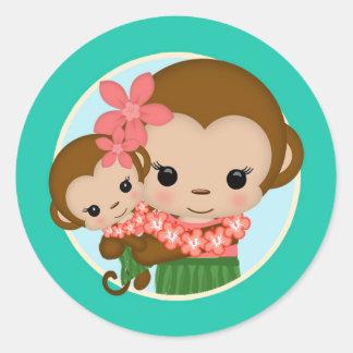 Hawaiian Hula Monkey Baby Shower sticker #4D