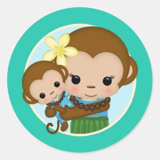 Hawaiian Hula Monkey Baby Shower sticker seal BOY