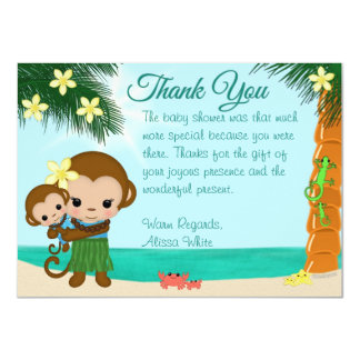 Hawaiian Hula Monkey Baby Shower Thank You BOY#01 4.5x6.25 Paper Invitation Card