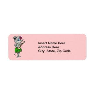 Hawaiian Hula Mouse Label