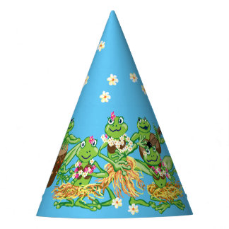 Hawaiian hula party frogs party hat