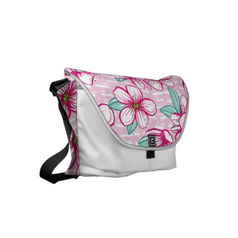 Hawaiian Inspired Cherry Blossom Flowers Small Messenger Bag