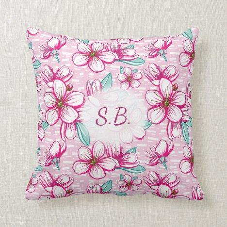 Hawaiian inspired Cherry Blossoms Monogram Throw Pillow