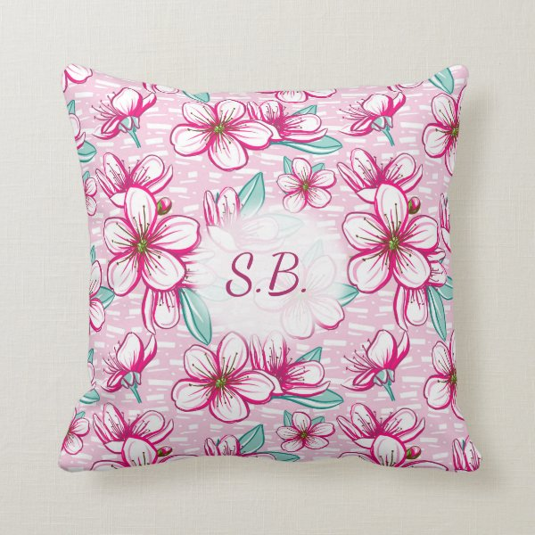 Hawaiian inspired Cherry Blossoms Monogram Throw Pillow