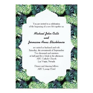 Hawaiian Island Beach Wedding Monsterra Deliciosa Card