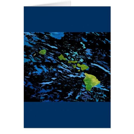 Hawaiian Island Chain in Abstract Art Card