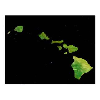 Hawaiian Island Chain in Abstract Art Postcard