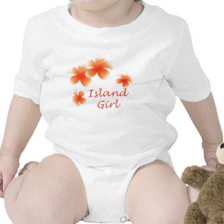 Hawaiian Island Girl Floral Luau Infants Baby Bodysuits