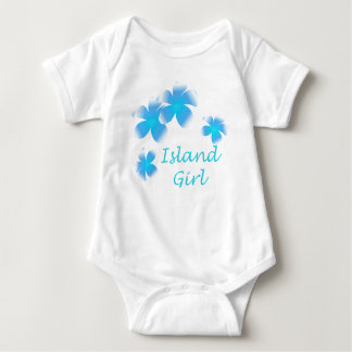 Hawaiian Island Girl Tropical Floral Aqua Infants T-shirt