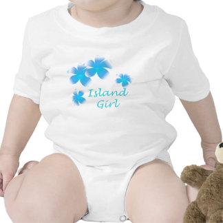 Hawaiian Island Girl Tropical Floral Aqua Infants Baby Bodysuit