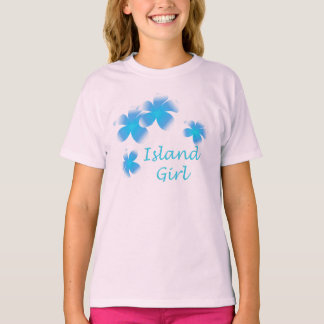 Hawaiian Island Girl Tropical Floral Aqua Kids T-Shirt